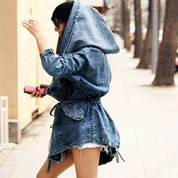 Wholesale Denim Hoodie Women - Wholesale- New Girl's Denim Oversized Hoodie Hooded Outerwear Jean Wind Jacket 2016 Fashion Design Denim Women Coat BZ658055