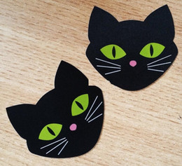 Wholesale Black Nipple Covers - 7*6.5cm black cat design Safety environmental protection nipple covers sexy nipple sticker 200pairs one time use cover