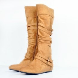 Wholesale Open Toed Boot Dress Shoes - Brown Knee High Boots For Women Flat Heels Round Toe Turn Over Boot Opening Women Dress Boots Fashion Shoes Luxury Women