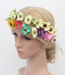 Wholesale Flower Wreath Tiara Wholesale - Flower Crown Headband Hair Wreath Wedding Flower Tiaras Bridal Wreaths Garland Boho Crowns For Brides Head Pieces Headwear Fascinator Hats