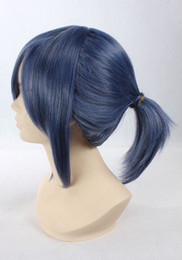 Wholesale Short Dark Blue Hair - Peruca Pelucas Thick Short Dark Blue Ombre Wigs Ponytail indian remy silk bulk high quality Full-bodied Synthetic Hair Two Tone Haircut WIG