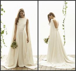 Wholesale Simple Elegant Dress Designs - Summer Simple Wedding Dresses Backless Watteau Elegant Sexy Sweep Train Simple Design Sleeveless Custom Appliques Cheap Bridal Dresses