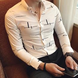 vestito dal tee all'ingrosso Sconti Wholesale- Winter Dress Shirts Uomo Slim Fit stampato manica lunga Solid Gentleman Casual Business camicette Design Tees Tops Abbigliamento uomo