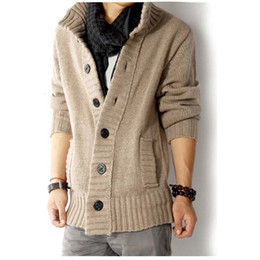 Wholesale Mens Collar Cardigan - 2017 New Men Thick Warm Cotton Sweater Stand Collar Solid Color Cardigans Mens Outwear Button Sweaters Knitted Cardigans Pull Homme Coat MY0