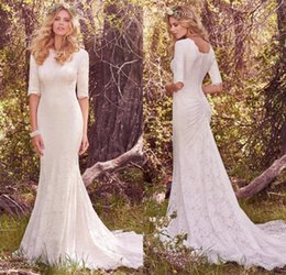 Wholesale Western Mermaid Gown - Vintage Lace Mermaid Modest Wedding Dresses 2017 Half Sleeves Jewel Neck Button Plus Size Country Western Bridal Gown