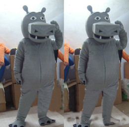 Wholesale Grey Hippo Costume - ems free shipping new Christmas grey hippo Mascot Costume for Halloween christmas Party Costume Character Outfit Fancy dress
