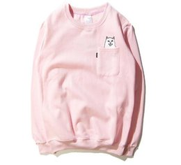 Wholesale Cheap Warm Clothing - 2017 New sweat suits mens long sleeve t shirt fashion shirt clothing sell Meng cheap cat cats middle Tide sweatshirt warm sweater
