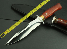"Wholesale Foxed Mirror - Free shipping 12"" New Wood Handle 7Cr17Mov Mirror Blade Hunting Straight knife VTH40"