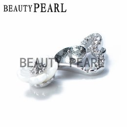 Wholesale Jewellery Charms Wholesale - Bulk of 3 Pieces White Shell Flower Heart Pendant Jewellery Findings 925 Sterling Silver for DIY Charm Pendant Mount