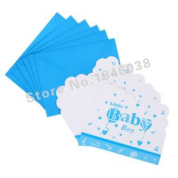Envolver la tarjeta online-Al por mayor-6pcs Envelop Shape Little Baby Boy Theme Party Invitation Card Kids Baby Birthday / Festival Party Party Decoration Supplies