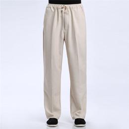 Argentina Shanghai Story Blend Lino Pantalones casuales Pantalón masculino Kung Fu chino Pantalones Ropa tradicional china para hombre cheap traditional clothes kung fu Suministro