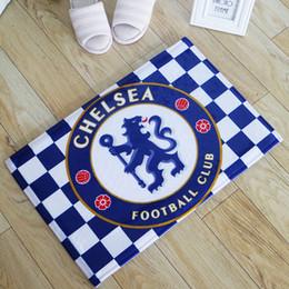 Wholesale Bedroom Blue Carpet - 90*155CM Flannel Rugs Real Madrid Football Team Fans Souvenir Carpet And Rug Football Team Badge Car Floor Mats Room Floor Rug