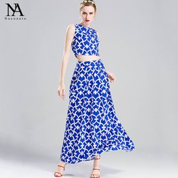 Wholesale Two Pieces Blouses - New Arrival 2017 Women's O Neck Sleeveless Blouse with Printed Long Skirts Fashion Runway Two Piece Dresses