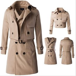 Wholesale Men Winter Long Work Coats - Wholesale- 2016 autumn and winter high-end men's trench coat fake two long section of double-breasted coat detachable clothing office work