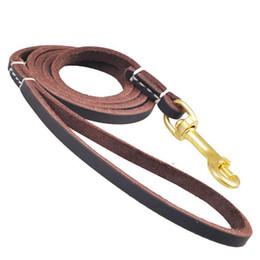 Wholesale Genuine Leather Dog Collars - New Brand Cowhide Genuine Leather Dog Pet Walking Leash Copper hook Training Leads for German Shepherd Samoyed dog