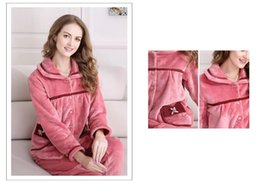 Wholesale Soft Coral Fleece Sleepwear - 2017 Hot! Coral fleece Pajamas two suit for women Thickening fabric Warm winter Pajamas bathrobe Soft comfortable Long sleeved Sleepwear