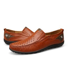 Wholesale Casual Shoes Cowhide Driving - New Arrival Genuine Leather Fashion Mens Casual Shoes Cowhide Driving Moccasins Slip On Loafers Men Flat Shoes Size 38-44