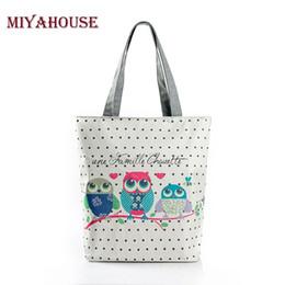 Wholesale Cartoon Vegetable - Cartoon Owl Print Casual Tote Lady Canvas Beach Bag Female Handbag Large Capacity Daily Use Women Single Shoulder Shopping Bags