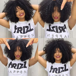 Wholesale Malaysian Afro Curl - Brazilian Afro Curls Mongolian human hair Tiny Afro Kinky Curly Wigs Human Hair Full Lace  Front Wig For Black Women in stock