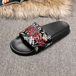 Wholesale Light Gray Heels - 2017 mens and womens fashion Romantic Floral Jacquard Slides Sandals blind for love outdoor causal flip flops size 35-45
