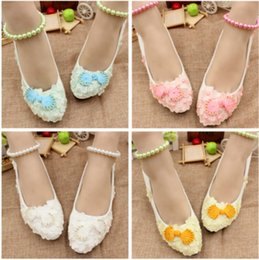 Wholesale Yellow Bridesmaid Shoes Wedding - Color button series white bridesmaid shoes Performance design and color studios photographed wedding shoes Anklets shoes female