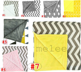 Wholesale Infant Quilts - INS Baby Chevron minky Blankets Infant Zigzag Swaddle Wrap Newborn Swaddling Fashion Stroller Manual Blanket Nursery Bedding