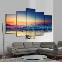 Paneles de paisaje marino online-5 Unidades de Pared de Arte Moderno Lienzo Sin Marco Modular Sunrise Panel Imprimir Pintura Decorativa Sunset Seascape Picture Home Decor
