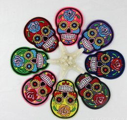 Wholesale Wholesale Fabric Flowers Trims - DIY patch bag pant flower skull PatchClothes Embroidered Patches For Clothing Fabric Badges Sewing Patches DIY sewing patch DIY items