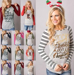 Wholesale Girl Xmas Shirts - Christmas T Shirts Women Xmas Tops Elk Xmas Deer Shirts Xmas Letter Striped Tees Casual Santa Claus Blouse Long Sleeve Shirts KKA3038