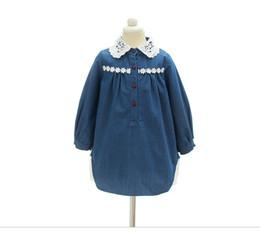 Wholesale Tee Shirt Collar Design - Everweekend Girls Lace Neckline Ruffles Denim Tees Loose Design Vintage Cute Children Autumn Winter Tops Blouse