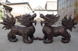Wholesale Bronze Foo Dogs - China Classic Copper Bronze FengShui Evil Foo fu Dog Lion Kirin kylin beast Pair