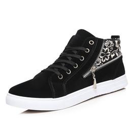 Wholesale Brand Comfort Shoes - New Brand Autumn Fashion Breathable Black Men Vulcanized Canvas Shoes High Quality Comfort Zipper Flat Men's Casual Board Shoes