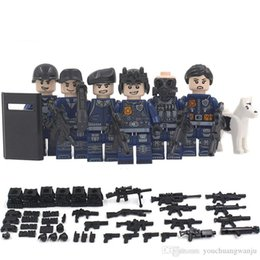 Wholesale Police Toy Guns - 6pcs City police SWAT team CS Commando Army soldiers with Weapon Gun Blocks Compatible with INGLYS Military Toy