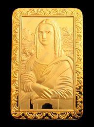 Wholesale Gold Coins 24k - Exquisite Da Vinci Mona Lisa Smile 24K Gold Plated Commemorative Coin Token