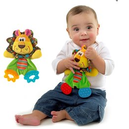 Wholesale Dog Towel Toy - Wholesale- 3 Styles Baby Infant Soft plush Toy Lion Dog Appease Towel Playmate Calm Doll with Teether Developmental Toys For children LF005