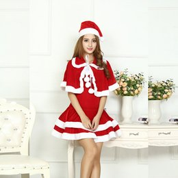 Wholesale Miss Santa Costumes - Sexy Adult Women Christmas Costume Halloween Party Sweetheart Miss Santa CosPlay Dress+Doll Collar Cape + Christmas Hat 3pcs Set