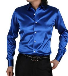 Wholesale Rayon Mens Shirts - 2017 NEW fashion Brand Mens Fashion silk Designer shining loose dress man Shirts Tops Western Casual shirt M - XXXL. Free shipping