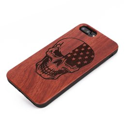 Wholesale Skull Cell Case - U&I ®Coolest Smiling Skull TPU Cell Phone Protection Exquisite cell phone shell for IPhone wooden phone case