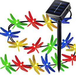 Wholesale Solar Dragonflies - Solar String Lights 16ft 20 LED 8 Modes Dragonfly Lights Waterproof Fairy Lighting Landscape Decoration for Garden Wedding Party Holiday