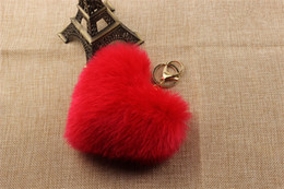 Wholesale Black Rex Rabbit - New Fashion Faux Rex Rabbit Fur Pom Pom Heart Key Chain Woman Bag Charms Man Trinket Car Keychain Women Key Ring Jewelry Keyring