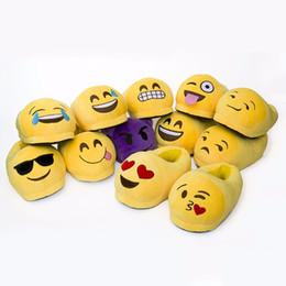 Wholesale Wholesale House Stuff - Wholesale-AUAU Unisex Funny Emoji Expression Plush Stuffed Men and Women Indoor Shoes Slippers House Cute Winter Warm House Shoes 28*13cm