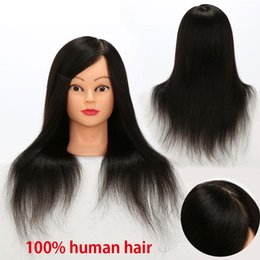 Wholesale Mannequin Practice - Human Hair Mannequin Training Head 100% Full Brazilian Hair Natural Black Color Practice Model Head Free Shipping