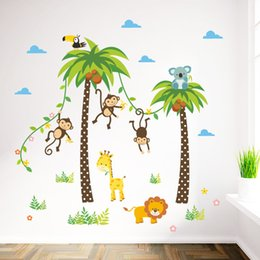 Wholesale Grass Decals - Cartoon Monkey Swing on the Coconut Tree Wall Stickers for Kids Babies Room Wall Decoration Cloud Grass Bird Elephant Giraffe Wall Mural Art