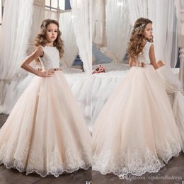 Wholesale Kids Custom Made Vest - 2017 Vintage Flower Girl Dresses For Weddings Blush Pink Custom Made Princess Tutu Sequined Appliqued Lace Bow Kids First Communion Gowns