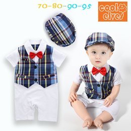 Wholesale Organic Child Hat - New Toddler Baby Boys Short Sleeve Plaid Stripe Romper With Hats 2PC Set Children gentleman Bow Tie waistcoat Jumpsuits Kids Summer Clothing
