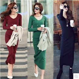 Wholesale Large Size Korean Dresses - 2017 new Korean version of the large size of women's long-sleeved dress knit dress Slim was thin buttocks skirt skirt