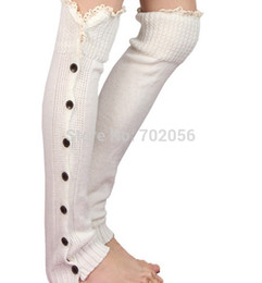 Wholesale Dancing Ballet Boots - Wholesale- Lace button down Leg Warmers Ballet Dance knitted booty Gaiters Boot Cuffs Boot Covers Long Gloves#3653