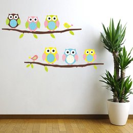 Wholesale Halloween Art For Children - pvc Creative DIY wall sticker for child room Carved Removable kindergarten stickers cute owl Branches Decorating cute animal 2017 Wholesale