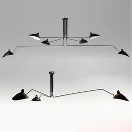 Wholesale Industrial Pendent Light - 3 6 heads Serge Mouille Pole Pendent Lamp Sabre Rattling Swing Duckbill Ceiling Lamp Metal Dining Room Ceiling Lamp mechanical design light