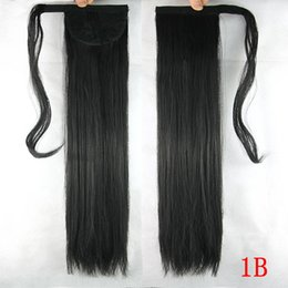 Wholesale Tie Ponytail Hairpiece - 10colors 60cm Long Hair Ponytail Clip On Hair Ponytail Extansion Pony Tail Hairpieces Synthetic Straight Hair Natural Tie